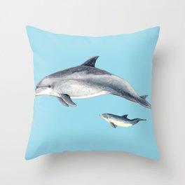 Blue Bottlenose dolphin Throw Pillow