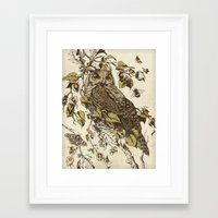 botanical Framed Art Prints featuring Great Horned Owl by Teagan White