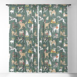 Christmas Dogs Green Sheer Curtain