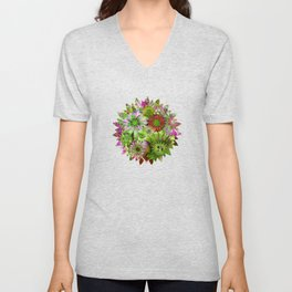 Rivalry of Flowers - green & red Unisex V-Neck