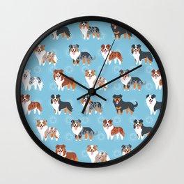 Aussie Shepherds Wall Clock