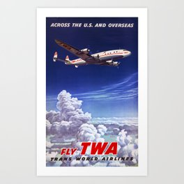 Across the US and overseas Travel Poster Art Print