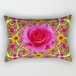 Deco Fuchsia Pink Rose Abstract Yellow Flower Garden Rectangular Pillow