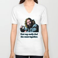 big lebowski V-neck T-shirts featuring Big Lebowski Quote 3 by Guido prussia