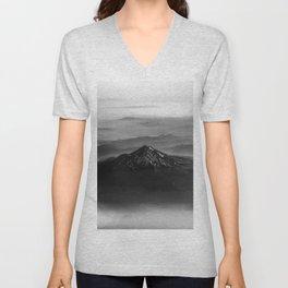 The West is Burning - Mt Shasta Black and White Unisex V-Neck