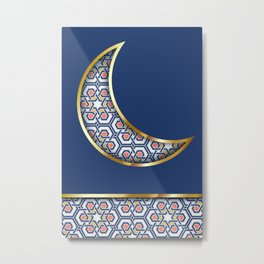Patterned crescent on dark blue Metal Print