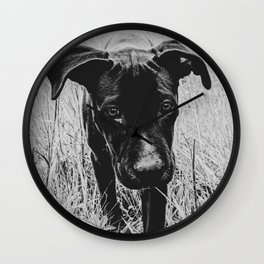 Doggy in the Field // B&W Hiking by Rustic Abandoned Log Cabin Summit Colorado Wall Clock
