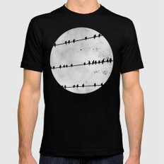 Birds on a Wire Mens Fitted Tee MEDIUM Black