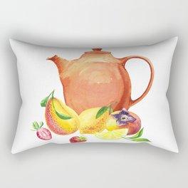 Watercolor teapot and fruit Rectangular Pillow
