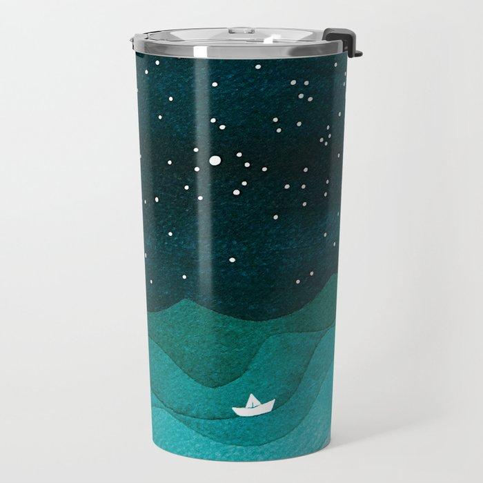 Starry Ocean, teal sailboat watercolor sea waves night Travel Mug
