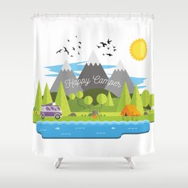 Great Happy Camper Shower Curtain