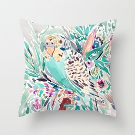 BELINDA the Budgie Throw Pillow