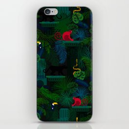 Animals in the jungle on the ruins iPhone Skin
