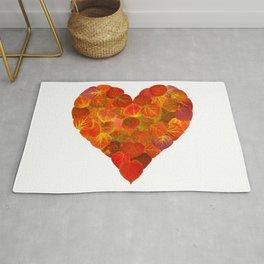 I Love Autumn, Subtle—Red Aspen Leaf Heart 1 Rug