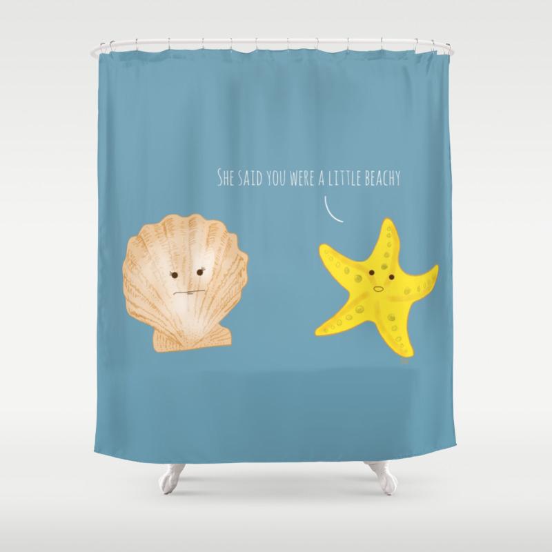 Starfish Seashell A Little Beachy Shower Curtain