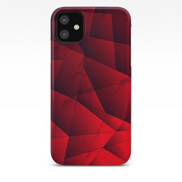 Bright contrasting red fragments of crystals on triangles of irregular shape. iPhone Case