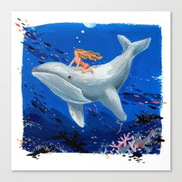 A Girl & Her Whale Canvas Print