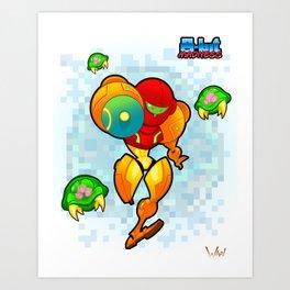 8-Bit Madness Metroid Art Print