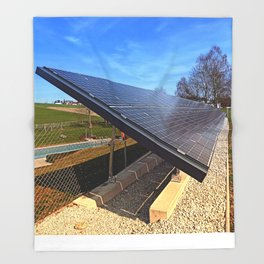 Solar panels in amazing perspective view | architectural photography Throw Blanket