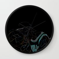 work hard Wall Clocks featuring HARD WORK by Asta Dagmar