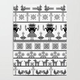 folk embroidery, black on white background. Collection of flowers, birds, peacocks, horse Poster