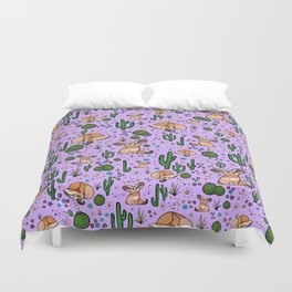 Fennec Foxes in Purple Duvet Cover