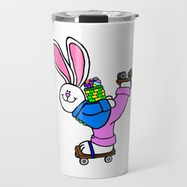 Roller Skating Easter Bunny Travel Mug