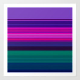 Vibrant Purple Pink and Green Stripes Art Print