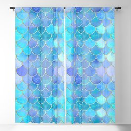 Aqua Pearlescent & Gold Mermaid Scale Pattern Blackout Curtain