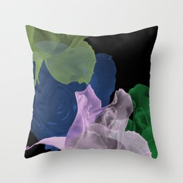 Pretty Rose Petals on Black Blackground Throw Pillow