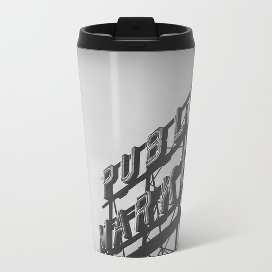 Seattle Pike Place Public Market Black and White Metal Travel Mug