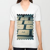 mac V-neck T-shirts featuring Mac Keyboard by Mauricio Togawa