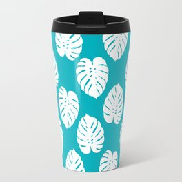 Monstera house plant pattern tropical summer bright happy home decor gifts for dorm room Travel Mug