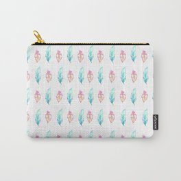 Blush pink teal watercolor hand painted feathers Carry-All Pouch