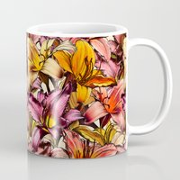 bedding Mugs featuring Daylily Drama - a floral illustration pattern by micklyn