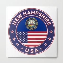 New Hampshire, USA States, New Hampshire t-shirt, New Hampshire sticker, circle Metal Print