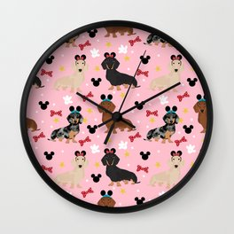Dachshund theme park lover dog breed wiener dog gifts Wall Clock
