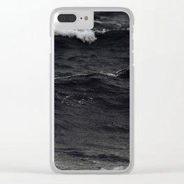 Monochrome Black Ocean Waves Minimalist Modern photo Clear iPhone Case