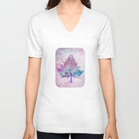 christmas tree V-neck T-shirts featuring Christmas Tree by Klara Acel