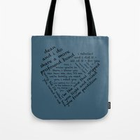 destiel Tote Bags featuring Quotes of the Heart - Destiel (Black) by fairy911911
