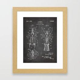Cork Screw Patent - Wine Art - Black Chalkboard Framed Art Print