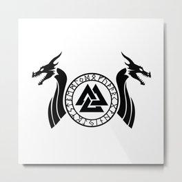 Norse Dragon - Valknut Metal Print