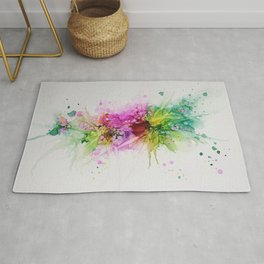 Happy Colors Abstract Flowers and Bubbles Multicolored Rug