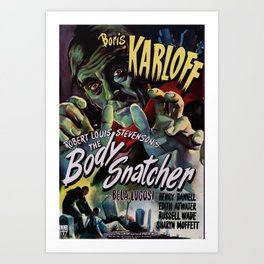 The Body Snacher 1945 Vintage Movie Poster Artwork for Wall Art, Posters, Prints, Tshirts, Men, Wome Art Print