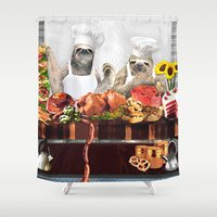 sloths Shower Curtains featuring Sloths by Big AL