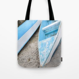 Two boats on the shore Tote Bag