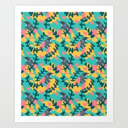 Blocky Tui Heart Print Art Print
