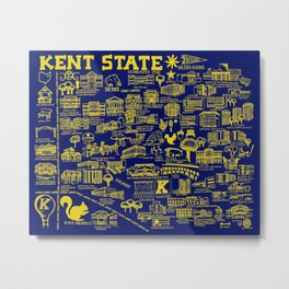 Kent State Blue and Gold Map Metal Print