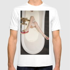 The queen is thirsty. Really, really thirsty LARGE White Mens Fitted Tee