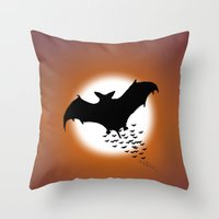 nightwing Throw Pillows featuring Nightwing by JT Digital Art